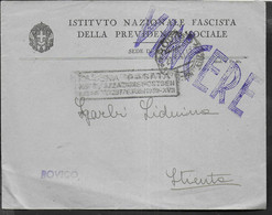 BUSTONE INTESTATO INFPS DA ROVIGO 28.07.1941 -PER STIENTA- TIMBRO VINCERE E TASSA PAGATA... IN CARTELLA - Marcophilia