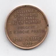 Médaille -- Foire De Paris 1950 - Souvenir -visite Au Stand De La Monnaie - Cuivre 33 M/m - 17 Grs ) Graveur  TURIN - Sin Clasificación