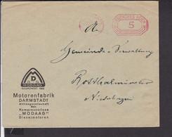 Brief  Deutsches Reich Freistempel Darmstadt , Motorenfabrik - Briefe U. Dokumente