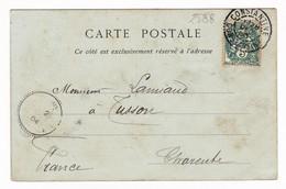 Carte Postale 1904 Algérie Cachet Constantine Type Blanc 5 Centimes Tusson Charente - Autres