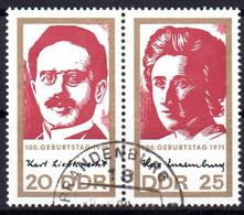 """(DDR-BM1) DDR """"100.Geburtstag Von Rosa Luxemburg Und Karl Liebknecht"""" Paar Mi 1650/51  Sauber Gestempelt - Gebraucht"""