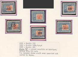 ARG160 1921,22,24 GUATEMALA MONOLITH MAYA MICHEL #163,184I-IV,194 6ST LH - Guatemala