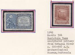 ARG164 1942,43 GUATEMALA AIR MAIL GUSTATOYA VASE ARCHEOLOGY DON PEDRO DE ALVARADO MICHEL #428,432II 2ST LH - Guatemala