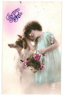 CPA - Carte Postale -Belgique-Bonne Fête Une Jeune Fille Avec Son Panier Fleuri Et Son Chien  1923 -VM35376 - Otros