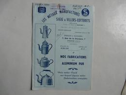 VIEUX PAPIERS - PUBLICITE : CATALOGUE - LES METAUX MANUFACTURES SIGG & VILLERS-COTTERETS - ARTICLES EN ALUMINIUM - Werbung