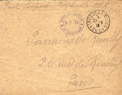 """27-9-18 Enveloppe  TRESOR ET POSTES / 24 - C   """" FORT DE  / SOUVILLE  / S P 24 """" - Guerra De 1914-18"""