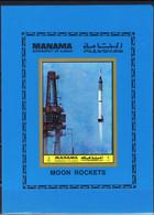 Manama Space : 1972 Launch Of Mercury Redstone Rocket Of Alan Shepard. Nice Sheet Imperf - Manama