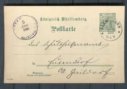 Wuerttemberg - 1900 - Dienstpostkarte Ex ELLWANGEN (2822) - Wurtemberg