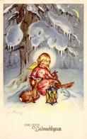 CP Fete Voeux Joyeux Noel Weihnachtsgrüße 1950 Fille Enfant Dessin Biche Ecureuil Hiver Neige - Other