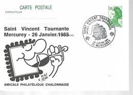 Carte Entier Liberté Manifestation De La St Vincent Tournante Mercurey 1985 - Philatelic Fairs