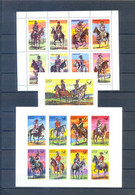STAFFA  SHEETS  MILITAR COSTUMES OVERPRINT  RED + BLACK  APOLLO 11  PERFORED + IMPERFORED  MNH - Other
