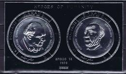 Manama Space : 1970 Apollo 14 Overprinted On Heroes Of Humanity Sheetlet - Silver - Manama