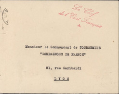 Guerre 40 Bureaux Spéciaux Cursive Le Chef De L'Etat Français A (Maréchal Pétain) Franchise Pr Compagnons De France Lyon - Oorlog 1939-45
