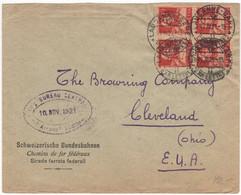 2061 - Tell Viererblock Auf Brief In Die USA - Cartas