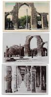 3 Postcards Lot India Delhi Kutab Minar Gateway Iron Pillar Decorated Columns Qutb Minar Complex 1928-1929 - India