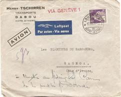 Lettre De Côte D'Ivoire Avec Timbre Suisse, Transports Tschirren à Dabou, Par Avion Via Genève En 1939, Luftpost, Dépôt - Cartas