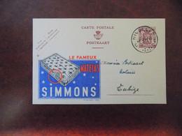 """EP Belgique Publibel 658 """" Matelas Simmons """" - Nivelles 1947 - Publibels"""
