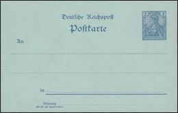 P 51b Germania 2 Pf Reichspost, Ohne Kontrollvermerke Hellblau ** Wie Verausgabt - Stamped Stationery