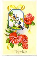 CP Fete Voeux Bonne Oiseaux Fleurs Dessin Rose - Otros
