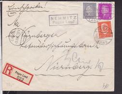 """EinschreibBrief Deutsches Reich Landpoststempel """" Nehmitz Pegau Land """" 1932 - Covers & Documents"""
