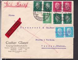 """EilBrief Deutsches Reich Stempel Leipzig 1931 Nach Italien  """" In Leipzig Entwertet """" - Covers & Documents"""