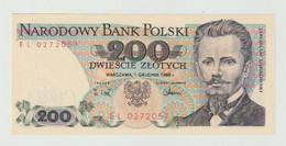 Banknote Polen-poland 200 Zlotych 1988 UNC - Polonia