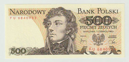 Banknote Polen-poland 500 Zlotych 1982 UNC - Polonia