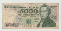 Used Banknote Polen-poland 5000 Zlotych 1986 - Polonia