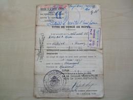 Ancien Titre De Congé 1945 CENTRE D 'HEBERGEMENT LIEGE - 1939-45