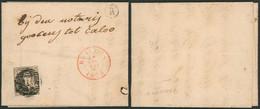 N°6 Touché Sur LAC Obl P16 çàd Beveren (1856) + Boite Rurale R (Vracene, Vrasene) > Notarij Tot Caloo / Pli D'archive - 1851-1857 Medaglioni (6/8)