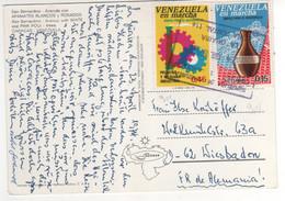 """Beaux Timbres , Stamps Yvert N° 909 , 911 """" Industrie , Artisanat  """" Sur Cp , Carte , Postcard Du 23/04/1974 - Venezuela"""