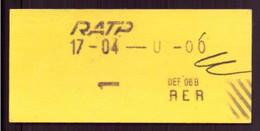 Ticket RATP - Unclassified