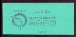 Ticket RATP Section Urbaine - Unclassified