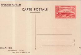 """FRANCE : ENTIER POSTAL . 1F25 ROUGE . """" PAQUEBOT NORMANDY """" . CP .  VARIETE DE DECOUPE . 1939 . - Postales Tipos Y (antes De 1995)"""