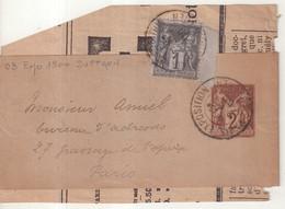 """FRANCE : ENTIER POSTAL . 1 Ct . TYPE SAGE . BANDE . AVEC COMPLEMENT . OBL . """" PARIS EXPO SUFFREN """" . 1900 . - Striscie Per Giornali"""