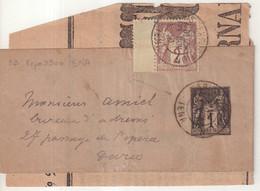 """FRANCE : ENTIER POSTAL . 1 Ct . TYPE SAGE . BANDE . AVEC COMPLEMENT . OBL . """" PARIS EXPO IENA """" . 1900 . - Striscie Per Giornali"""