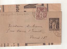 """FRANCE : ENTIER POSTAL . 1 Ct . TYPE SAGE . BANDE . AVEC COMPLEMENT . OBL . """" PARIS EXPO BEAUX ARTS """" . 1900 . - Striscie Per Giornali"""