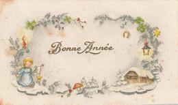 1038 _ MIGNONETTE BONNE ANNEE ANGELOT FER A CHEVAL LANTERNE TREFLES ETOILES MAISON CHAMPIGNON PAYSAGE ENNEIGE - Neujahr