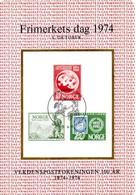 NORVEGE. Timbres Pré-imprimés Sur Carte Commémorative De 1974. Journée Du Timbre. - Día Del Sello
