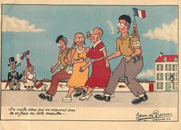 W.W.2 - 1945 - RARE REPRESENTATION FEMMES TONDUES - CPA ILLUSTRATEUR; J. De PRESSAC - SATIRIQUE - ANTI-COLLABORATION - - Guerra 1939-45