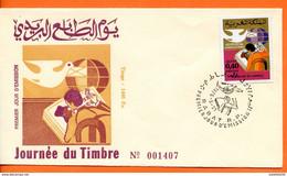 """Maroc;FDC 1975, TP N°730 """" Journée Du Timbre """"Morocco;Marruecos - Maroc (1956-...)"""