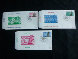 """BELG.1989 2315 2316 & 2317 FDC's (Binch) : """" Belgisch Kantwerk / Dentelles De Belgique """" - 1981-90"""