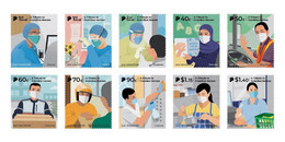 2021 NEW *** Singapore Covid-19 Series II - A Tribute To Frontline Heroes Complete Set  MNH Mint Doctor Coronavirus (**) - Singapore (1959-...)