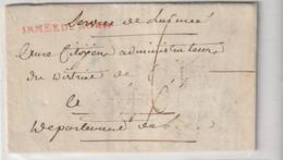 """Lettre Avec Griffe Rouge """"Armée Du Nord"""", Subsistances Militaires/ Fourrage, 1794/ An 2 Et Correspondance - 1701-1800: Vorläufer XVIII"""