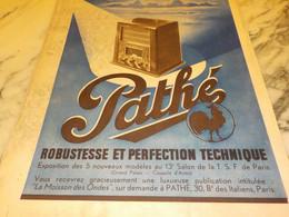ANCIENNE PUBLICITE ROBUSTESSE ET PERFECTION PATHE   1936 - Altri