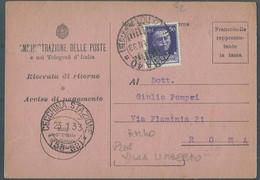 AMMINISTRAZIONE DELLE POSTE Ricevuta Di Ritorno * ROMA  PIAZZA  VILLA UMBERTO  X CECCHINA  STAZIONE  AMBULANTE 55-59 * - Marcophilia