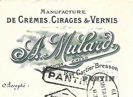 Traite Illustrée 1926 / PARIS /  A MULARD / Manufacture De Crèmes, Cirage & Vernis - Bills Of Exchange