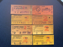 8 TICKETS TRANSPORT RATP  Coupons Mensuels  CARTE ORANGE - Europe