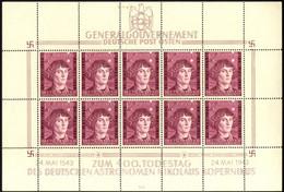 Generalgouvernement Nr. 104 Kleinbogen Postfrisch, Sektorennummer I/1 - Ocupación 1938 – 45