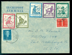 Nederland 1950 Luchtpostbrief Naar Pittsburgh USA Met Kinderzegels NVPH 563-567 Totaal Frankering 50 Cent - Lettres & Documents